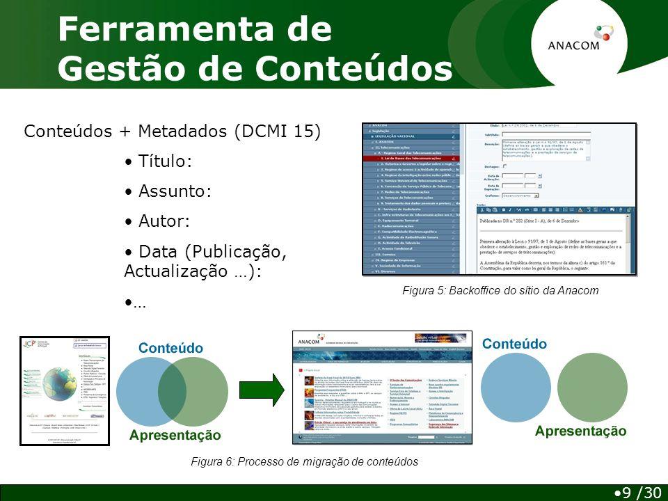 Ferramenta de Gestão de Conteúdos Conteúdos + Metadados (DCMI 15) Título: Assunto: Autor: Data (Publicação, Actualização …): … Figura 5: Backoffice do sítio da Anacom 9 /30 Figura 6: Processo de migração de conteúdos