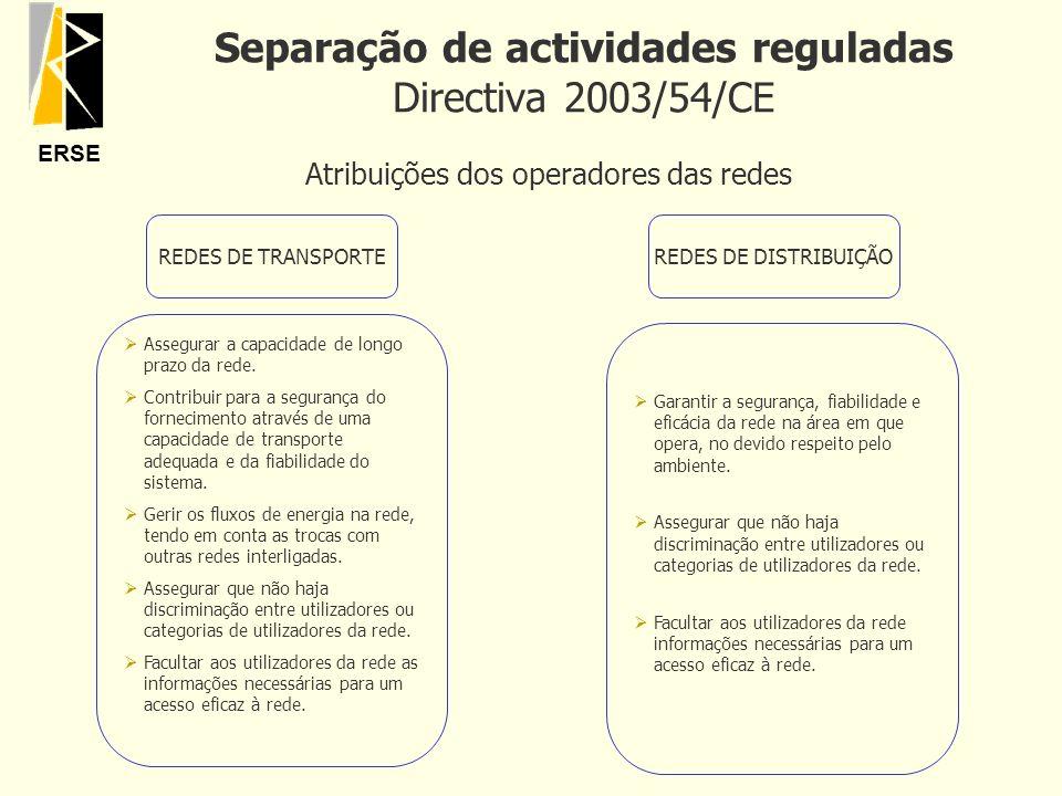 ERSE Separação de actividades reguladas Directiva 2003/54/CE Atribuições dos operadores das redes REDES DE TRANSPORTE ØAssegurar a capacidade de longo