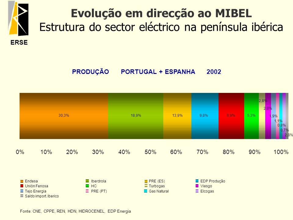 ERSE Evolução em direcção ao MIBEL Estrutura do sector eléctrico na península ibérica