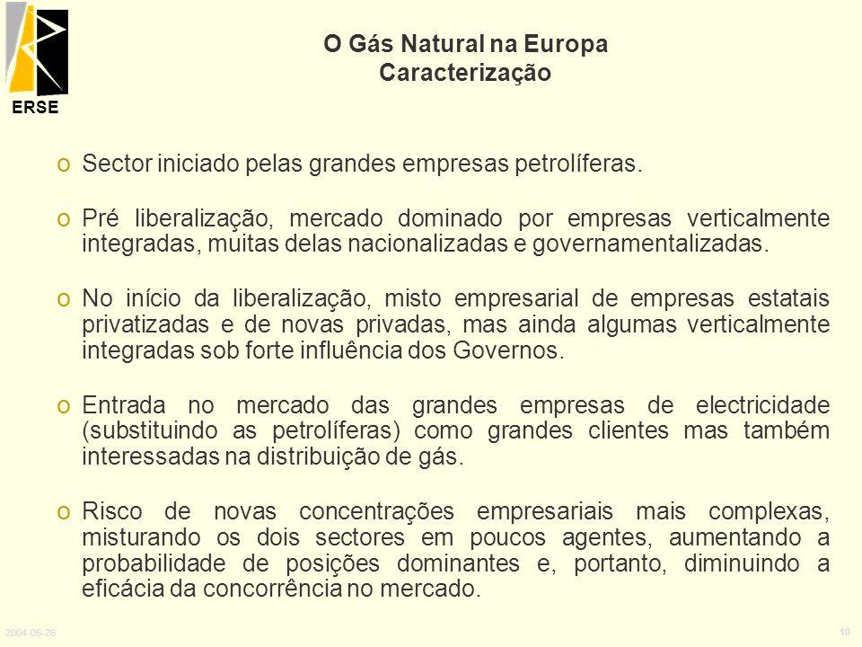 ERSE 2004-05-26 10 o Sector iniciado pelas grandes empresas petrolíferas. o Pré liberalização, mercado dominado por empresas verticalmente integradas,