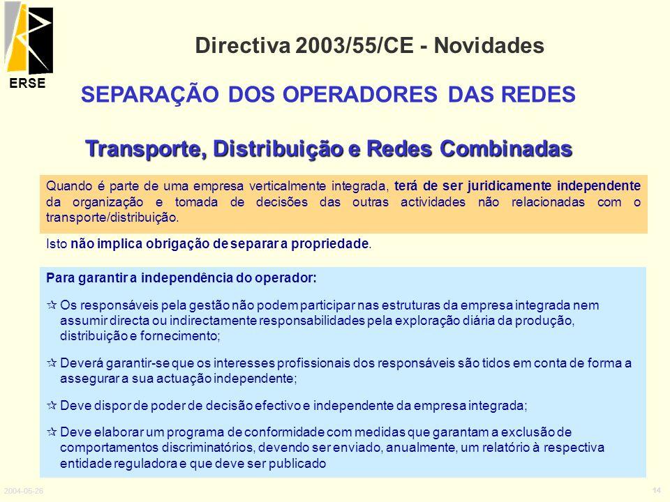 ERSE 2004-05-26 14 Directiva 2003/55/CE - Novidades SEPARAÇÃO DOS OPERADORES DAS REDES Transporte, Distribuição e Redes Combinadas Para garantir a ind