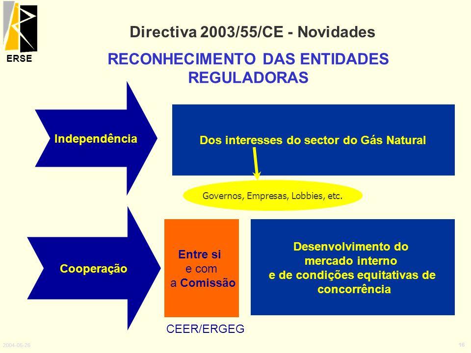 ERSE 2004-05-26 16 Directiva 2003/55/CE - Novidades RECONHECIMENTO DAS ENTIDADES REGULADORAS Independência Cooperação Dos interesses do sector do Gás