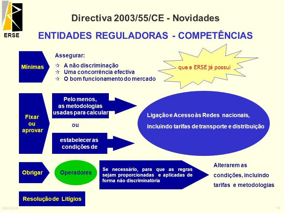 ERSE 2004-05-26 17 Directiva 2003/55/CE - Novidades ENTIDADES REGULADORAS - COMPETÊNCIAS Fixar ou aprovar Pelo menos, as metodologias usadas para calc