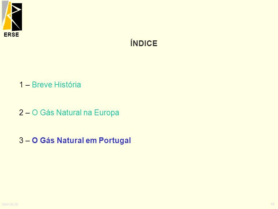ERSE 2004-05-26 19 ÍNDICE 1 – Breve História 2 – O Gás Natural na Europa 3 – O Gás Natural em Portugal