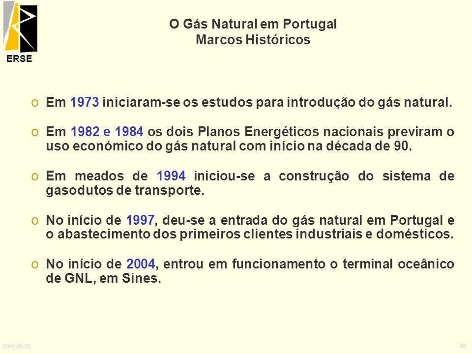 ERSE 2004-05-26 20 o Em 1973 iniciaram-se os estudos para introdução do gás natural. o Em 1982 e 1984 os dois Planos Energéticos nacionais previram o