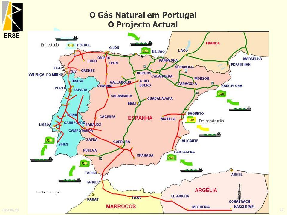 ERSE 2004-05-26 22 O Gás Natural em Portugal O Projecto Actual Fonte: Transgás