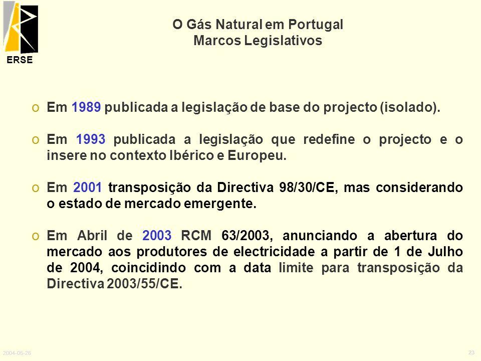 ERSE 2004-05-26 23 o Em 1989 publicada a legislação de base do projecto (isolado). o Em 1993 publicada a legislação que redefine o projecto e o insere