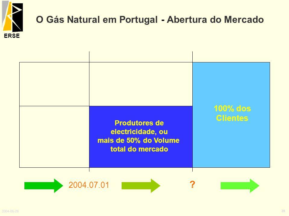 ERSE 2004-05-26 28 2004.07.01 ? 100% dos Clientes Produtores de electricidade, ou mais de 50% do Volume total do mercado O Gás Natural em Portugal - A
