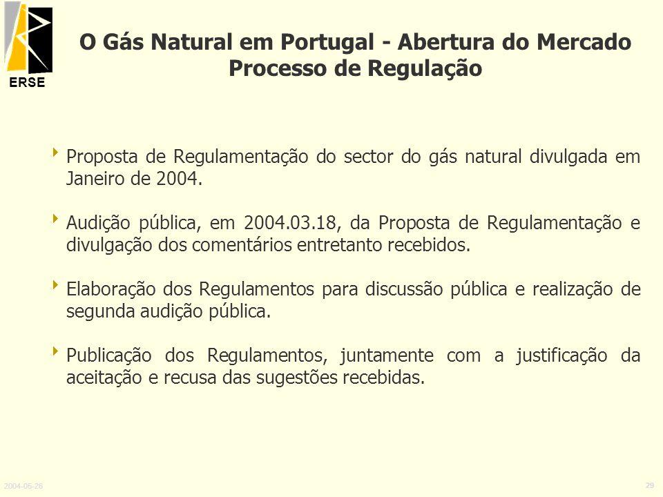 ERSE 2004-05-26 29 Proposta de Regulamentação do sector do gás natural divulgada em Janeiro de 2004. Audição pública, em 2004.03.18, da Proposta de Re