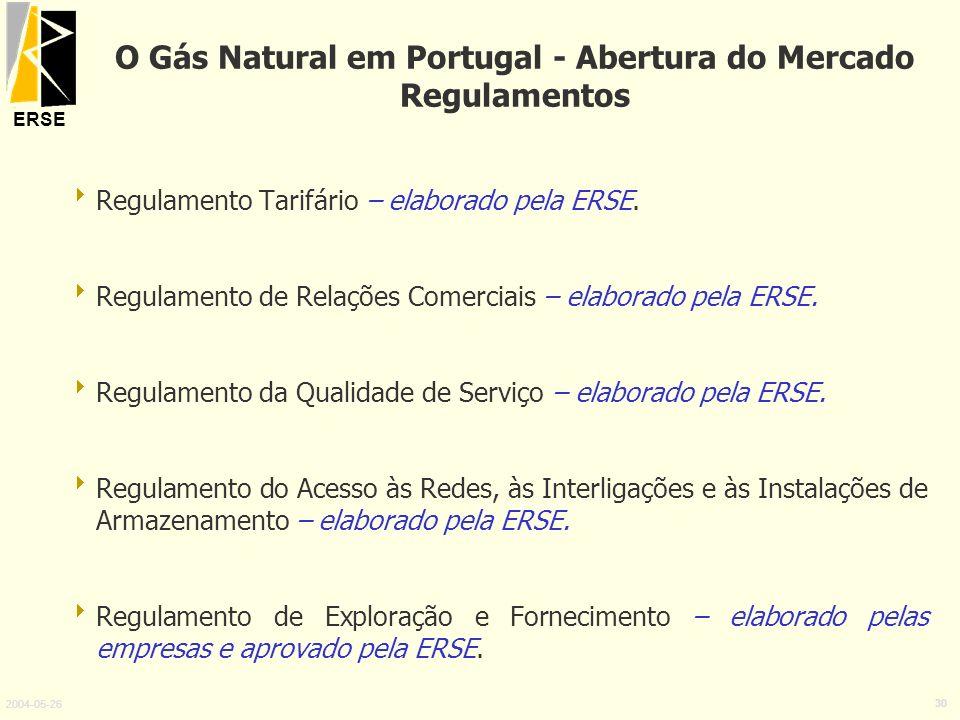 ERSE 2004-05-26 30 O Gás Natural em Portugal - Abertura do Mercado Regulamentos Regulamento Tarifário – elaborado pela ERSE. Regulamento de Relações C