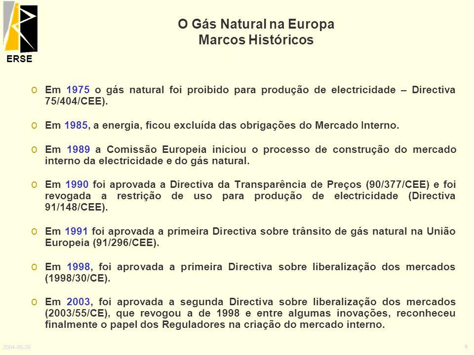 ERSE 2004-05-26 9 o Em 1975 o gás natural foi proibido para produção de electricidade – Directiva 75/404/CEE). o Em 1985, a energia, ficou excluída da