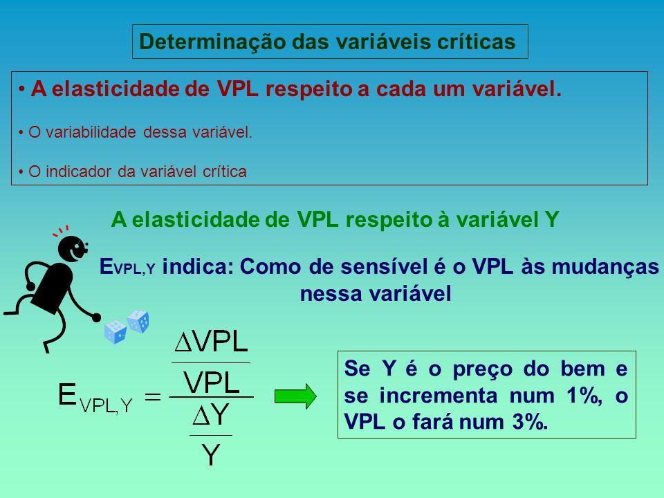 A elasticidade de VPL respeito à variável Y A elasticidade de VPL respeito a cada um variável. O variabilidade dessa variável. O indicador da variável