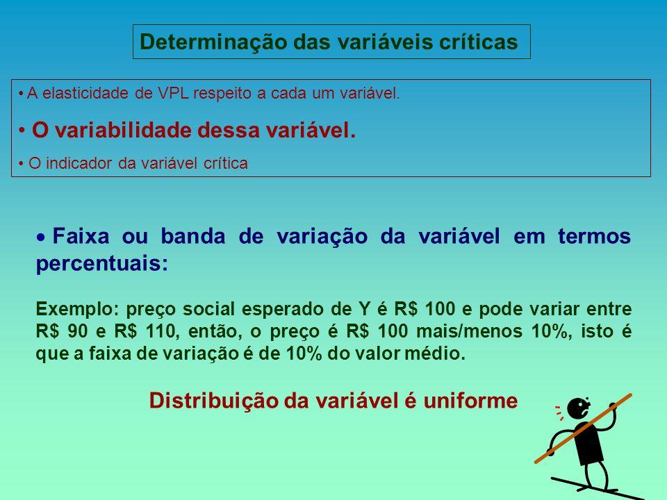 Faixa ou banda de variação da variável em termos percentuais: Exemplo: preço social esperado de Y é R$ 100 e pode variar entre R$ 90 e R$ 110, então,