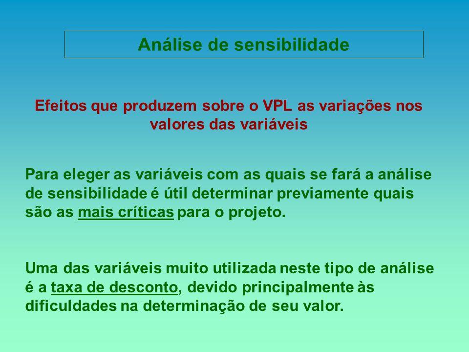 Para eleger as variáveis com as quais se fará a análise de sensibilidade é útil determinar previamente quais são as mais críticas para o projeto. Uma