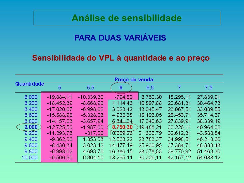 PARA DUAS VARIÁVEIS Sensibilidade do VPL à quantidade e ao preço Análise de sensibilidade