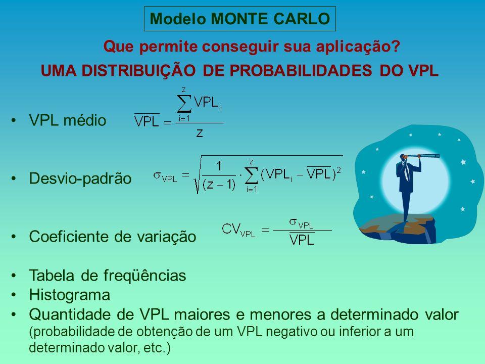 Que permite conseguir sua aplicação? Modelo MONTE CARLO UMA DISTRIBUIÇÃO DE PROBABILIDADES DO VPL VPL médio Desvio-padrão Coeficiente de variação Tabe