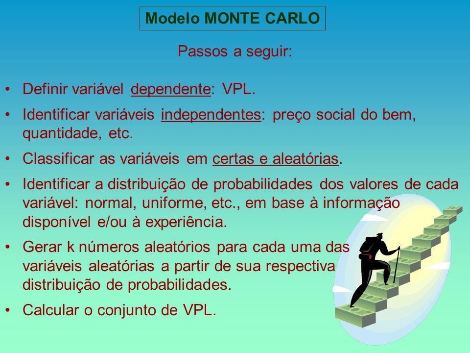 Modelo MONTE CARLO Passos a seguir: Definir variável dependente: VPL. Identificar variáveis independentes: preço social do bem, quantidade, etc. Class