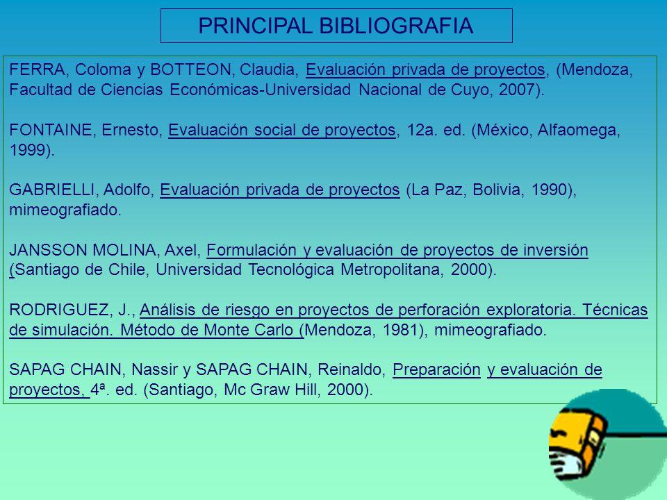 FERRA, Coloma y BOTTEON, Claudia, Evaluación privada de proyectos, (Mendoza, Facultad de Ciencias Económicas-Universidad Nacional de Cuyo, 2007). FONT