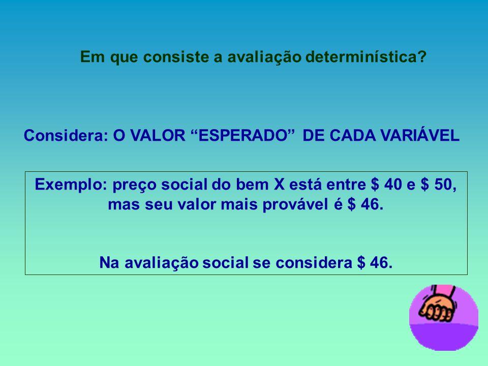 Em que consiste a avaliação determinística? Considera: O VALOR ESPERADO DE CADA VARIÁVEL Exemplo: preço social do bem X está entre $ 40 e $ 50, mas se