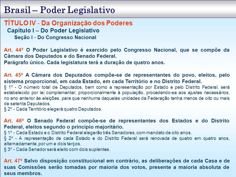 TÍTULO IV - Da Organização dos Poderes Capítulo I – Do Poder Legislativo Seção I - Do Congresso Nacional Art. 44º O Poder Legislativo é exercido pelo