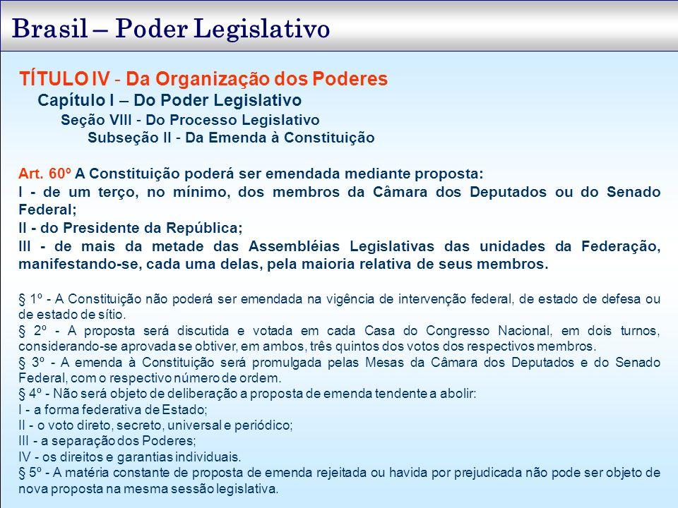 TÍTULO IV - Da Organização dos Poderes Capítulo I – Do Poder Legislativo Seção VIII - Do Processo Legislativo Subseção II - Da Emenda à Constituição A