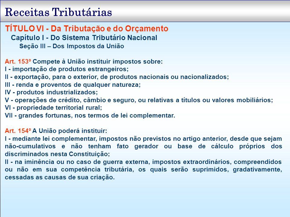 TÍTULO VI - Da Tributação e do Orçamento Capítulo I - Do Sistema Tributário Nacional Seção III – Dos Impostos da União Art. 153º Compete à União insti
