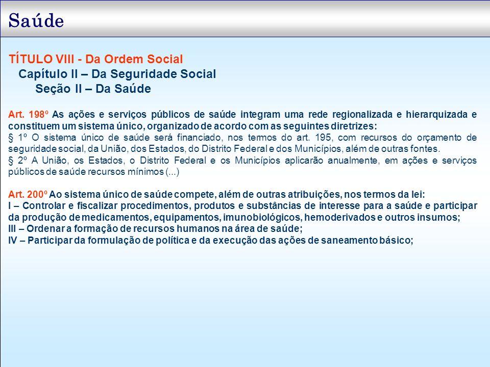 Saúde TÍTULO VIII - Da Ordem Social Capítulo II – Da Seguridade Social Seção II – Da Saúde Art. 198º As ações e serviços públicos de saúde integram um