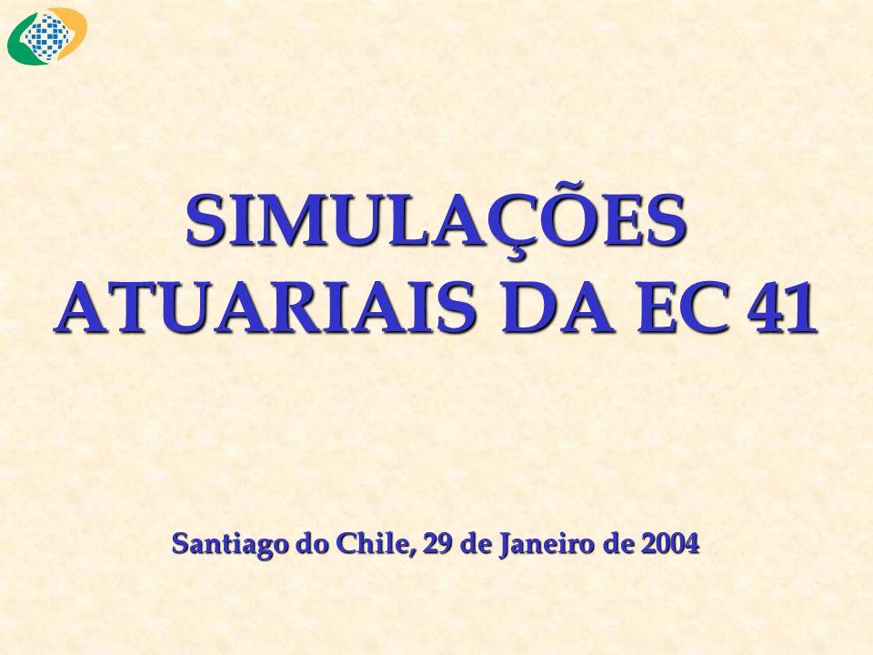SIMULAÇÕES ATUARIAIS DA EC 41 Santiago do Chile, 29 de Janeiro de 2004