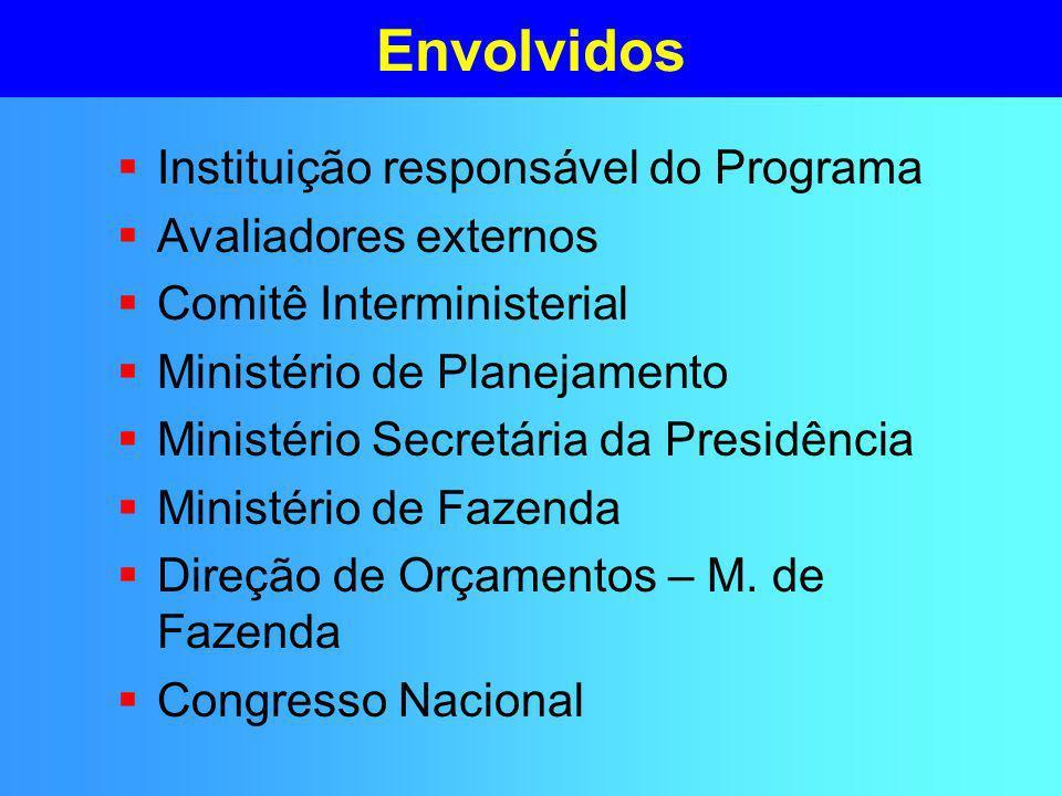 Envolvidos Instituição responsável do Programa Avaliadores externos Comitê Interministerial Ministério de Planejamento Ministério Secretária da Presidência Ministério de Fazenda Direção de Orçamentos – M.