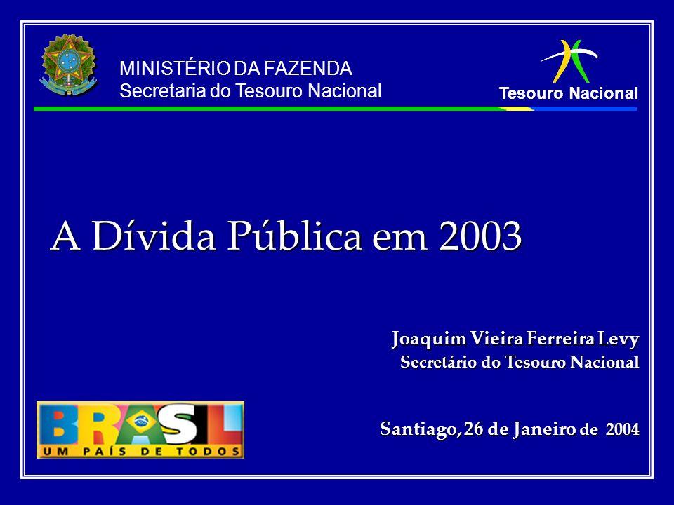 Tesouro Nacional MINISTÉRIO DA FAZENDA Secretaria do Tesouro Nacional A Dívida Pública em 2003 Joaquim Vieira Ferreira Levy Secretário do Tesouro Naci