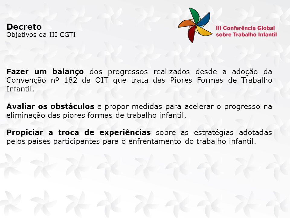 Arranjo para o processo de elaboração de documentos Aportes: Acordo de cooperação prevê a elaboração dos seguintes documentos: 1.Documento Base da III CGTI o Será um documento de provocação e vai orientar as discussões nos países.