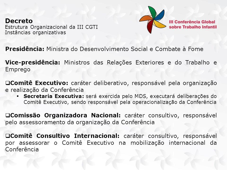Decreto Estrutura Organizacional da III CGTI Comitê Executivo Comitê Consultivo Internacional Comissão Organizadora Nacional Secretaria Executiva