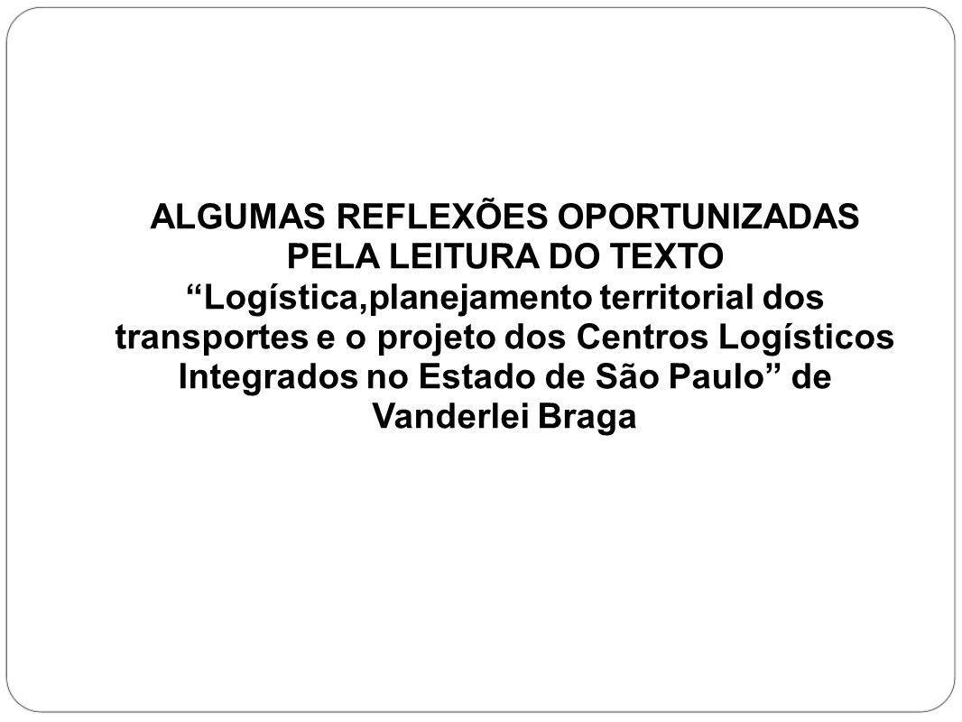 ALGUMAS REFLEXÕES OPORTUNIZADAS PELA LEITURA DO TEXTO Logística,planejamento territorial dos transportes e o projeto dos Centros Logísticos Integrados