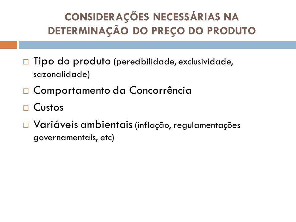 CONSIDERAÇÕES NECESSÁRIAS NA DETERMINAÇÃO DO PREÇO DO PRODUTO Tipo do produto (perecibilidade, exclusividade, sazonalidade) Comportamento da Concorrên