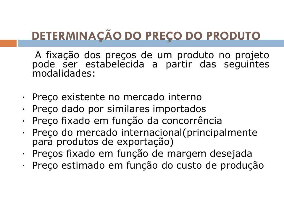 DETERMINAÇÃO DO PREÇO DO PRODUTO A fixação dos preços de um produto no projeto pode ser estabelecida a partir das seguintes modalidades: ·Preço existe