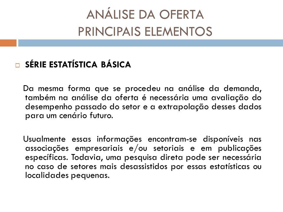 ANÁLISE DA OFERTA PRINCIPAIS ELEMENTOS SÉRIE ESTATÍSTICA BÁSICA Da mesma forma que se procedeu na análise da demanda, também na análise da oferta é ne