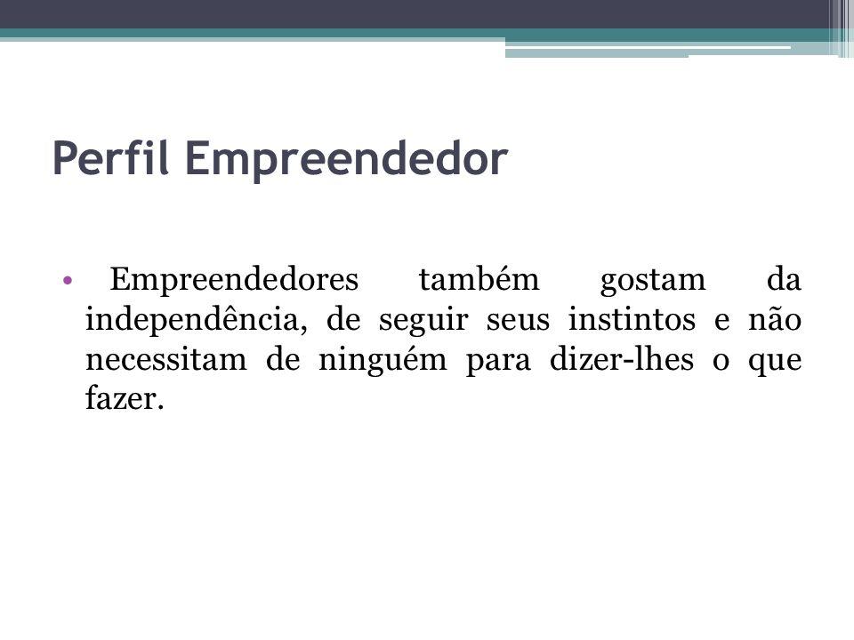 Perfil Empreendedor VISIONÁRIO Sabe onde quer chegar.