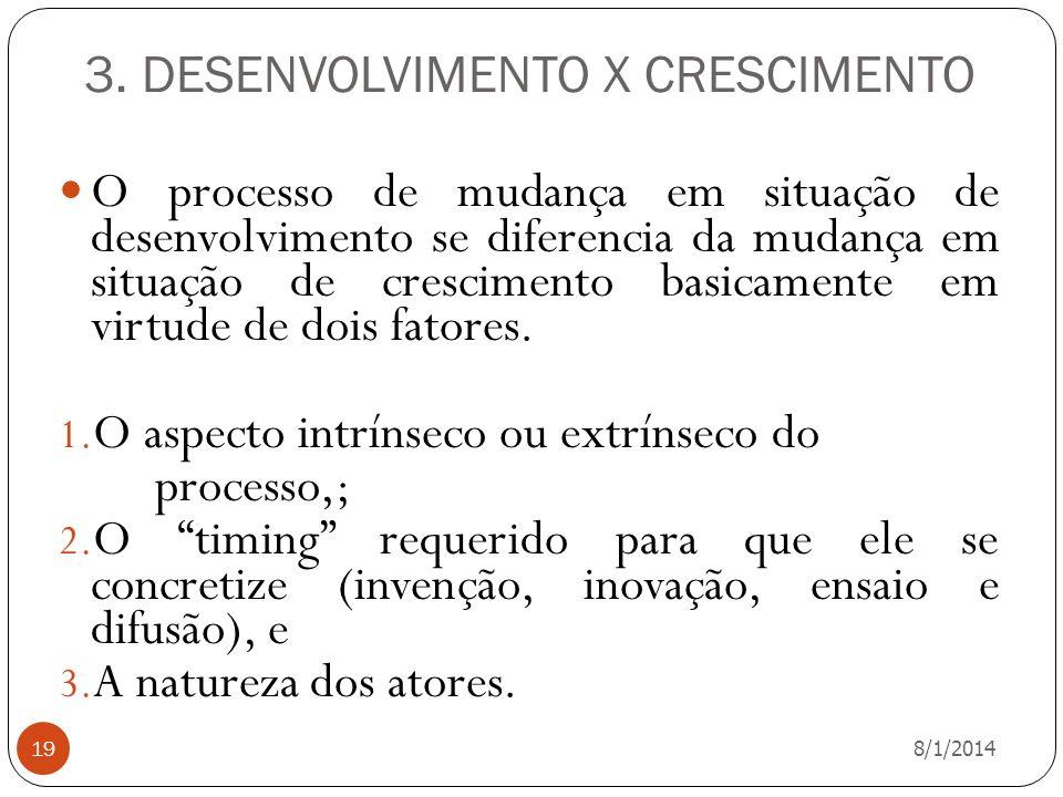 3. DESENVOLVIMENTO X CRESCIMENTO 8/1/2014 19 O processo de mudança em situação de desenvolvimento se diferencia da mudança em situação de crescimento