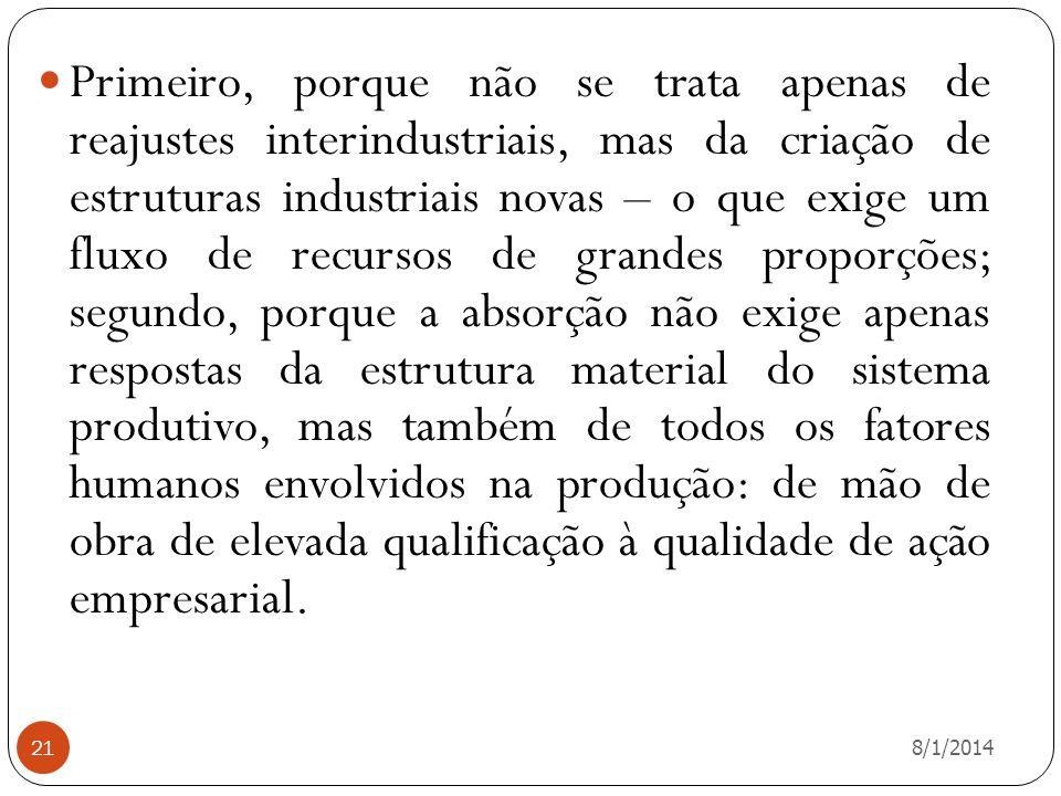 8/1/2014 21 Primeiro, porque não se trata apenas de reajustes interindustriais, mas da criação de estruturas industriais novas – o que exige um fluxo
