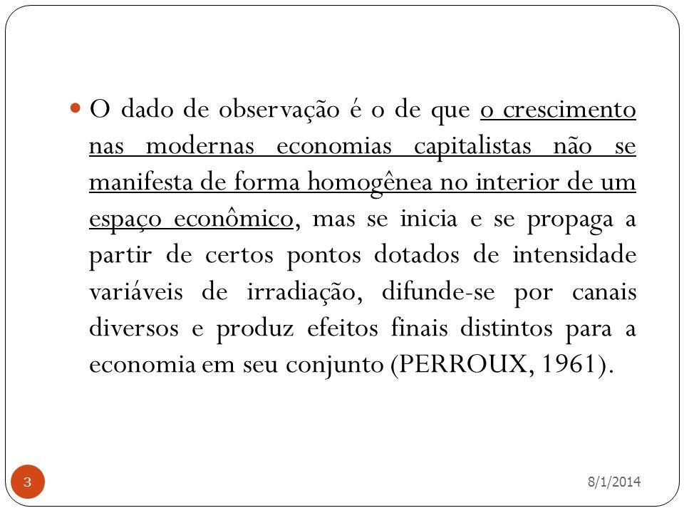 8/1/2014 3 O dado de observação é o de que o crescimento nas modernas economias capitalistas não se manifesta de forma homogênea no interior de um esp