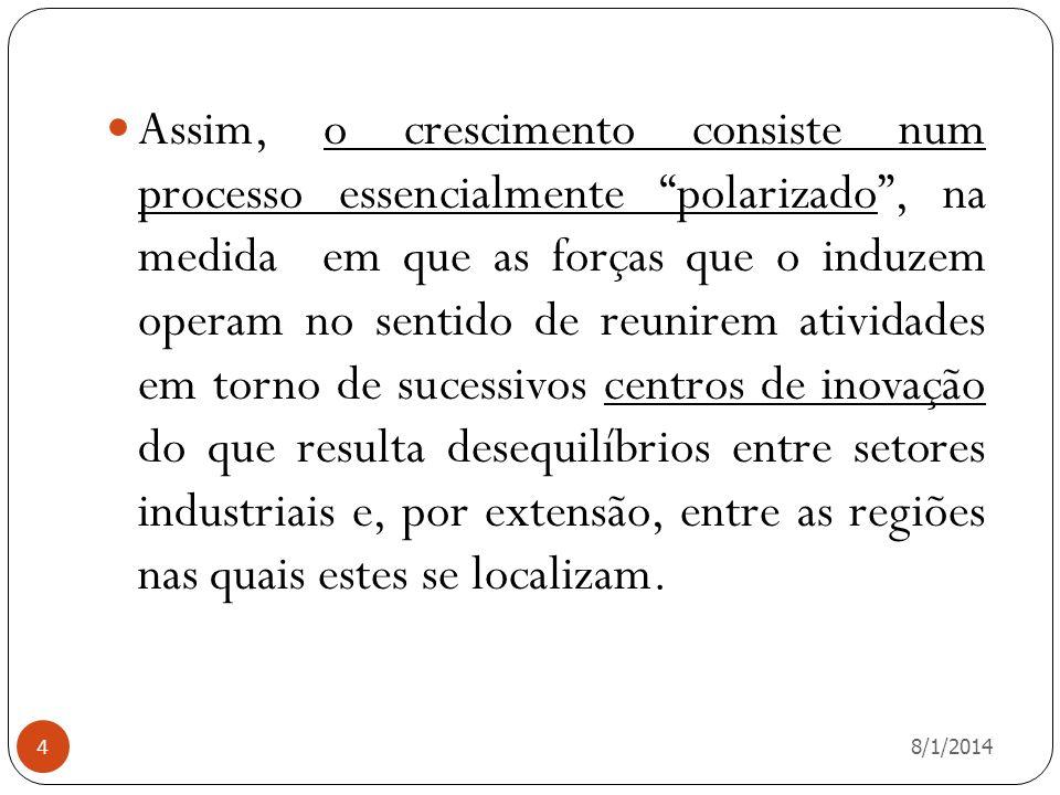 8/1/2014 5 A noção de pólo formulada por Perroux insere-se no contexto de um espaço econômico abstratamente considerado e que é concebido como sendo um campo de forças representadas por centros de inovação.