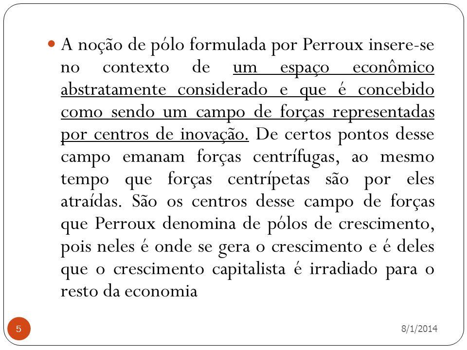 8/1/2014 5 A noção de pólo formulada por Perroux insere-se no contexto de um espaço econômico abstratamente considerado e que é concebido como sendo u