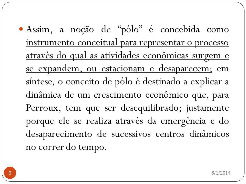 8/1/2014 7 O que Perroux busca, originalmente, através da noção de pólo de crescimento, portanto, é dar consistência à idéia de que o moderno crescimento econômico se realiza de forma necessariamente desequilibrada, (PERROUX,1961)