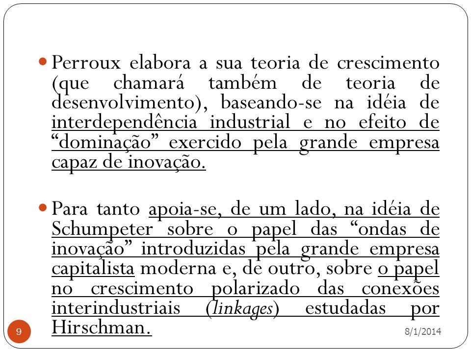 8/1/2014 9 Perroux elabora a sua teoria de crescimento (que chamará também de teoria de desenvolvimento), baseando-se na idéia de interdependência ind
