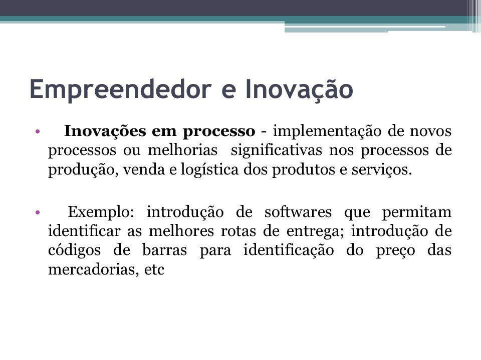 Empreendedor e Inovação Inovações em processo - implementação de novos processos ou melhorias significativas nos processos de produção, venda e logíst