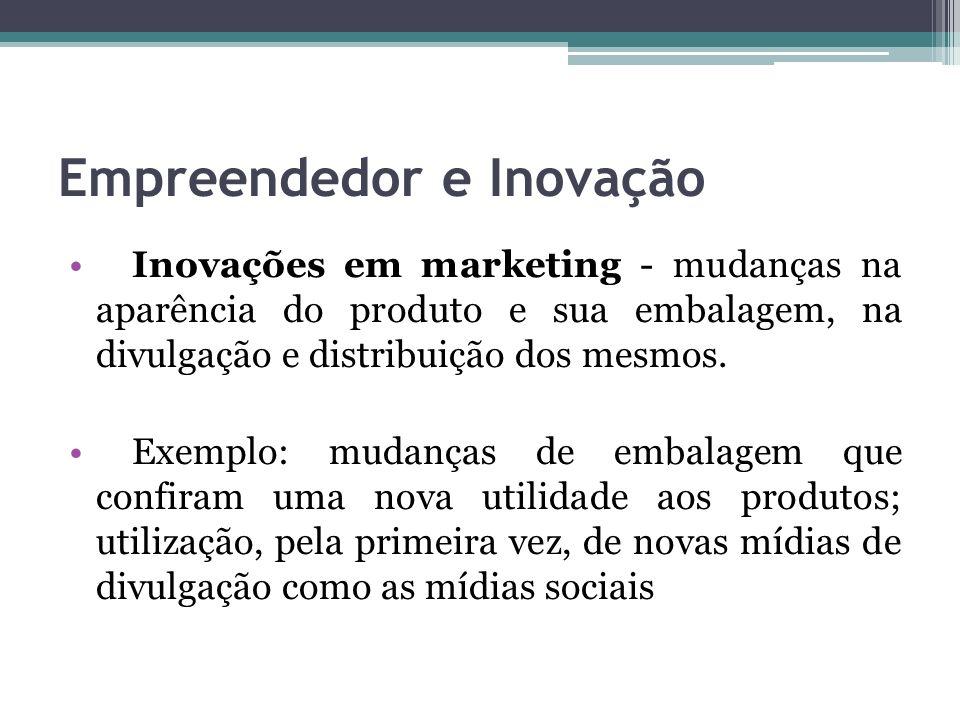 Empreendedor e Inovação Inovações em marketing - mudanças na aparência do produto e sua embalagem, na divulgação e distribuição dos mesmos. Exemplo: m