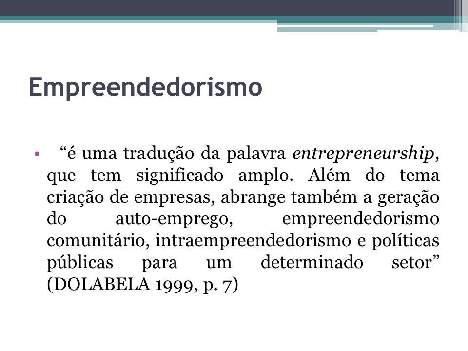 Empreendedorismo é uma tradução da palavra entrepreneurship, que tem significado amplo. Além do tema criação de empresas, abrange também a geração do