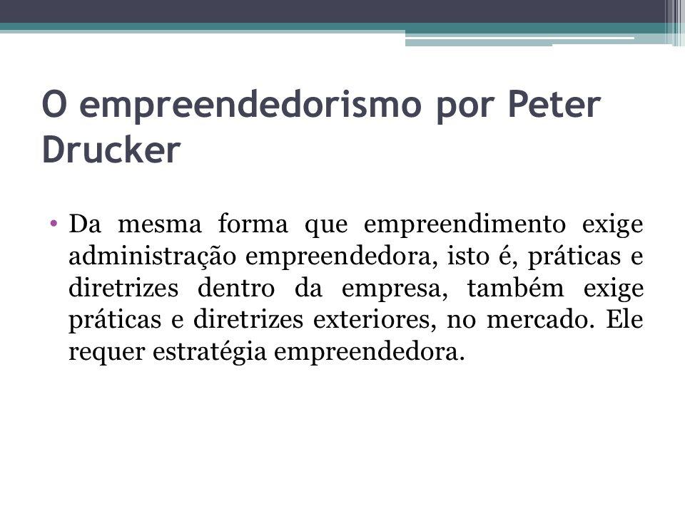 O empreendedorismo por Peter Drucker Da mesma forma que empreendimento exige administração empreendedora, isto é, práticas e diretrizes dentro da empr