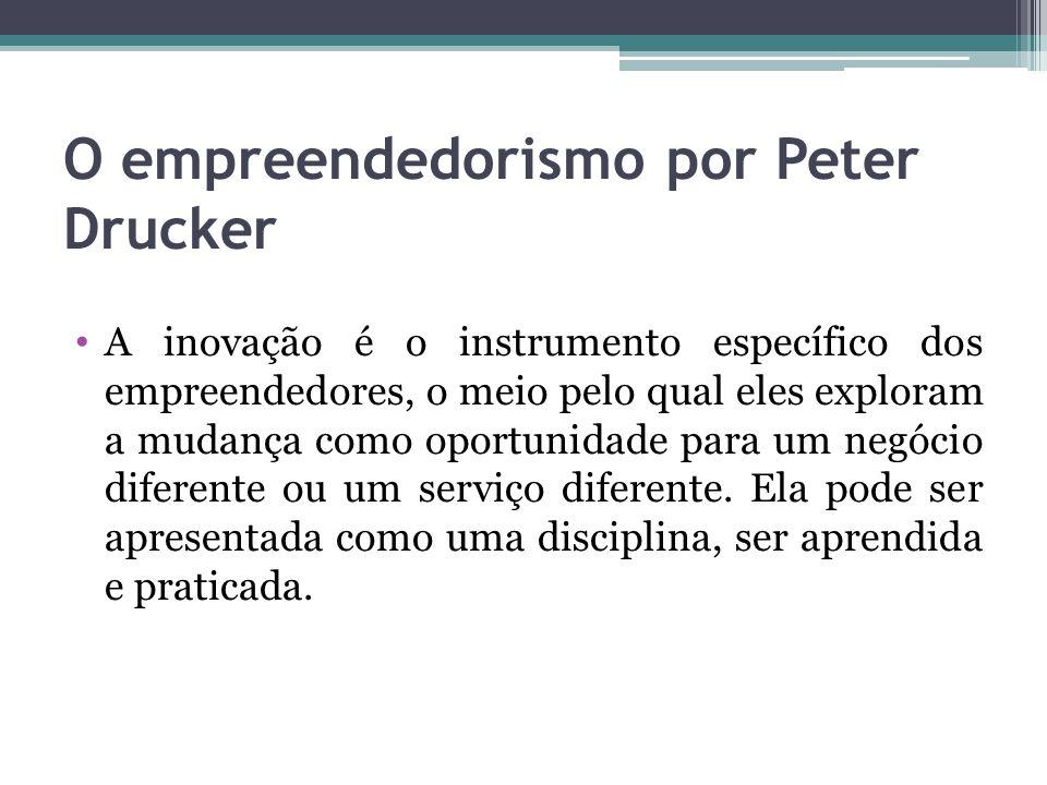 O empreendedorismo por Peter Drucker A inovação é o instrumento específico dos empreendedores, o meio pelo qual eles exploram a mudança como oportunid