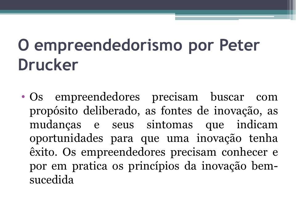 O empreendedorismo por Peter Drucker Os empreendedores precisam buscar com propósito deliberado, as fontes de inovação, as mudanças e seus sintomas qu